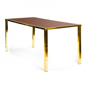 Metropolitan Table Communal GOLD - brown plexi