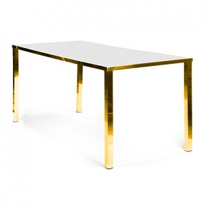Metropolitan Table Communal GOLD - white plexi