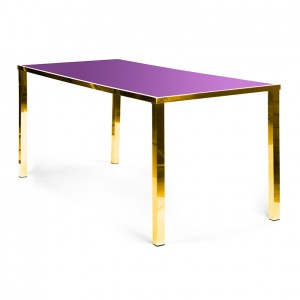 Metropolitan Table Communal GOLD - pink plexi