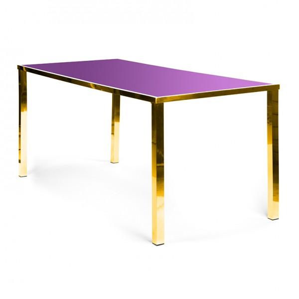 Metropolitan Table Communal GOLD - pink plexi