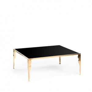carlton table gold w_ astaire legs black plexi