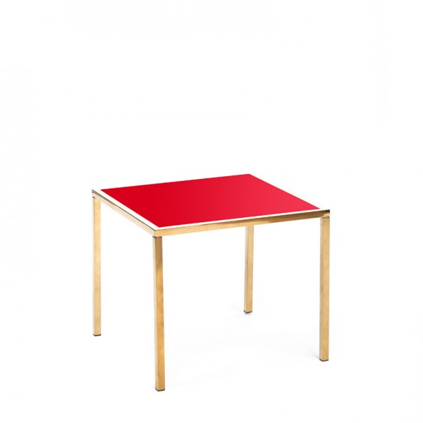 mercer table gold red plexi