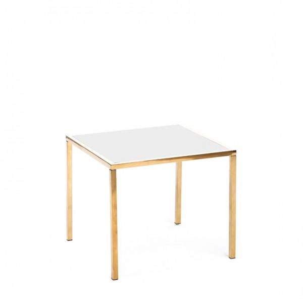 mercer table gold white plexi