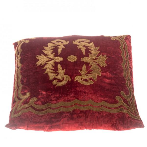 Pillow - Velvet Pattern - Red Square
